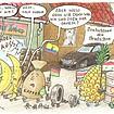 Karikatur: Exotische Früchte und Kaffeesack und Öltonne verlassen Deutschland wegen rassistischer Hetze.